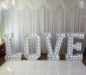 Light up Letter and Heart Arch Hire London