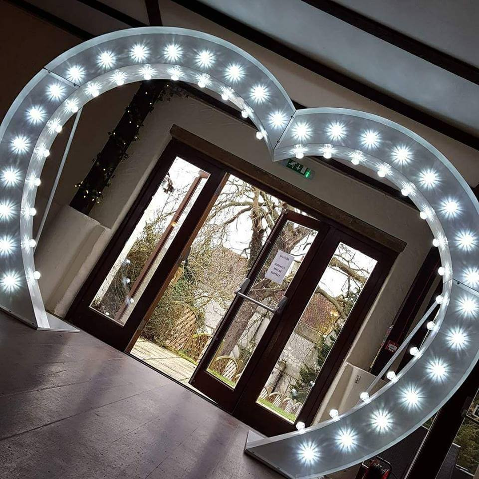 light up letter and heart arch hire east london