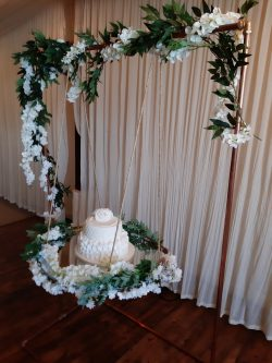 rustic wedding cake swing hire